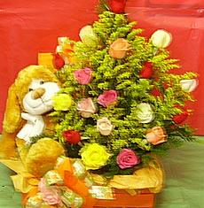 Baú com Rosas mistas e Urso (pelúcia especial)